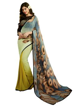 Buy Shree Sanskruti Georgette Printed Cream Color Saree With Embroidered Work Blouse Piece online. Georgette Saree Party Wear, Chiffon Saree, Party Wear Sarees, Georgette Sarees, Cotton Saree, Indian Designer Sarees, Ethnic Wear Designer, Indian Sarees, Sarees For Girls