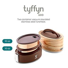 Vaya Tyffyn 600ml Insulated Lunch Box without Bagmat - Leak-resistant food storage container with copper finished Stainless Steel containers - 100% BPA free, Eco-friendly lunchbox for adults and kids.: Amazon.co.uk: Kitchen & Home