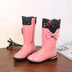 Shoes Winter Warm Princess High Snow Mid-Calf Boots with Bow Lace & Fur Plush
