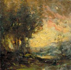 Camille COROT (Paris, 1796 - Ville-d'Avray, 1875) Soleil couchant, entre 1850 et 1860, huile sur bois. Inv : 67 39 1. Non exposée. © Musée des Augustins, Toulouse.