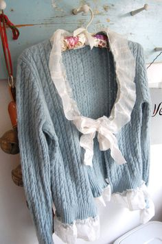 SALE Robin's Egg Blue Cashmere Sweater Altered by OfLinenandLace, $72.50