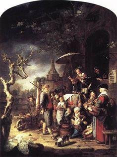 The Quack, Gerrit Dou. Netherlandish painting of XVII century.