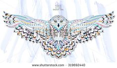 Illustration of Patterned snowy owl on the grunge background. It may be used for design of a t-shirt, bag, postcard, a poster and so on. vector art, clipart and stock vectors. Owl Tattoo Design, Tattoo Designs, Tattoo Ideas, Totem Tattoo, Owl Tattoo Meaning, Tattoos With Meaning, Owl Illustration, Illustrations, Grunge
