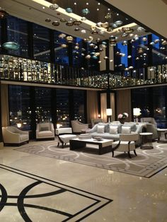 Lobby view, 6 p.m. at The Langham, Chicago.