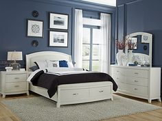 Brennan White Queen Storage Bed