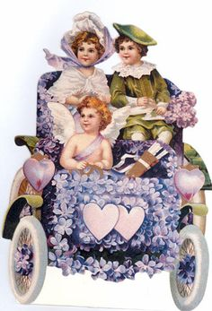 Valentine Couple in Old Fashioned Car with Cupid by naturepoet, $4.50