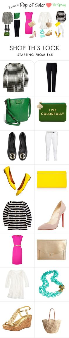 """""""Things I want for Spring"""" by bethbres13 ❤ liked on Polyvore featuring J.Crew, Uniqlo, Kate Spade, Tory Burch, AG Adriano Goldschmied, Madewell, Jimmy Choo, Christian Louboutin, Michael Kors and Lanvin"""