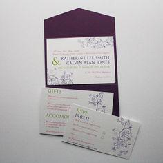 Swirls Cadburys Purple Pocketfold Wedding Invitation with Floral Design Pink or Green Purple Wedding Stationery, Vintage Wedding Invitations, Wedding Invitation Design, Pocketfold Invitations, White Envelopes, Swirls, Vows, Rsvp, Scotland