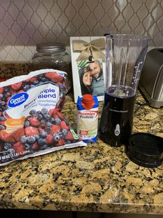 1 cup frozen berries and premier protein shake makes an amazing smoothie!