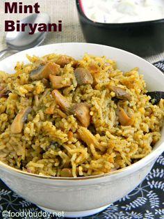 Mint Mushroom Biryani is a easy flavorful one pot meal made with fresh mint leaves and mushroom. Served with raita and potato korma. #mint #mushroom #biryani #onepotmeal #lunchbox #indian #vegetarin