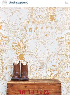 b31e3fc1b481 Love this animal wall paper in gold! Kids Wallpaper