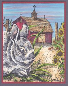 "Scene card from B. Gibbons  ""Bunny Time""  Bunny 2101JJ"