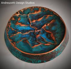Just completed hand made copper dish, diameter made from salvaged 60 year old copper, creased and hammered to form, with shades of green/blues aged patinations. Designed as a wall art piece . Copper Wall Art, Metal Art, Shades Of Green, Blue Green, Rustic Artwork, Copper Dishes, Irish Art, Organic Form, Rustic Design