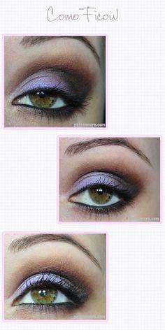 Tutorial de maquiagem roxa furta-cor.