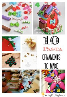 10 Easy Christmas Ornaments for Kids to make with pasta - With different kinds of pasta you can create amazing snowflakes, flowers and small tabletop Christmas trees. Bowties, wagon wheels, elbows, stelline ..  there are so many different pasta types that you can use.