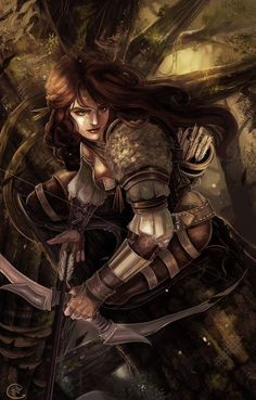 Fantasy warrioress archer - how do I even start describing this awesomeness? Character Portraits, Character Art, Character Design, Character Ideas, Character Concept, Fantasy Women, Fantasy Girl, Skyrim, Fantasy Characters