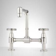 Edison Bridge Bathroom Faucet with Pop-Up Drain - Bathroom Sink Faucets - Bathroom Brass Bathroom Faucets, Gold Faucet, Lavatory Faucet, Bathroom Plumbing, Plumbing Fixtures, Bathtub Shower, Shower Faucet, Plumbing Humor, Kitchen Handles