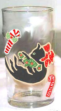 Hand painted Christmas Black Cat Wine Glasses http://www.clearlysusan.com/Christmas-Black-Cat-Drinking-Glasses-_p_113.html $28.00