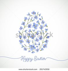 Happy Easter greeting card. Watercolor Easter egg with flowers and  lettering.  Hand drawn floral watercolor background. - stock vector