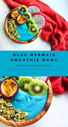 Kickstart your day by channeling your inner Ariel with this gorgeously dazzling Blue Mermaid Smoothie Bowl, made with @E3Live Blue Majik, a potent algae that will boost your overall health.