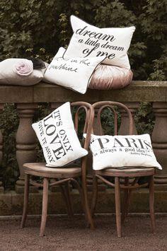 It´s love cushion, Paris cushion, Sunshine cushion, Dream cushion