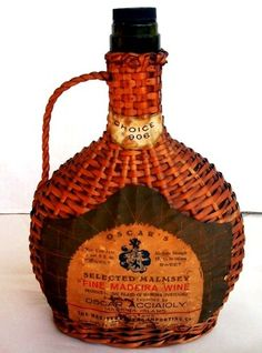 Vintage Malmsey Madeira - Portugal Wicker Wine Bottle 9 1/2 Flask Type Ebay $24.00 This is Mine!!!