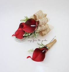 For the mother and father of the bride or groom, this Real Touch deep red calla lily boutonniere and corsage set is accented with lily of the valley and dusty miller finished with burlap and lace ribb