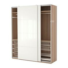 Pax Wardrobe, White Stained Oak Effect, Färvik White Glass