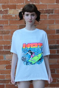 Hot Neon 80s Surfing T-Shirt, size L