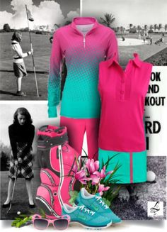 Color up your golf style with this set! Exclusive at lorisgolfshoppe.polyvore.com #golf #neon #ootd #lorisgolfshoppe