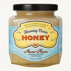 Blooming Prairie Honey- Love the color combo with the flourish and type