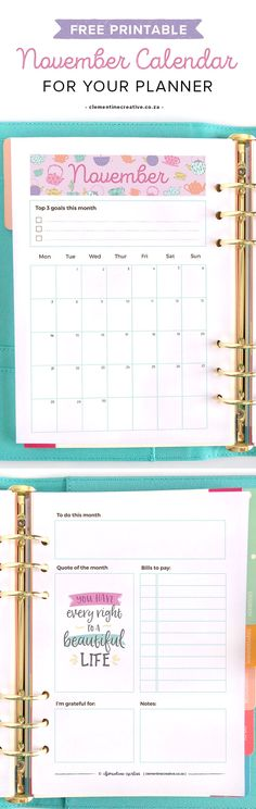 Get a new free printable monthly planner every month to insert in your kikki.K, Filofax or larger binder. Get November's calendar/planner here.