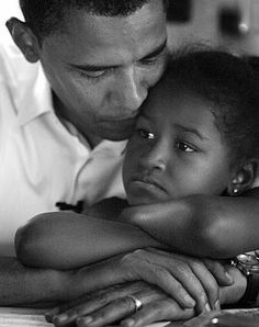 President Obama with youngest daughter Sasha