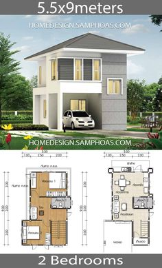 10 Beautiful House plans you will love House Plans with 2 Bedrooms Full plansThe House has:One-story house, 2 bedrooms, 1 bathroom, living room Mini House Plans, House Plan With Loft, Small House Floor Plans, Model House Plan, Duplex House Plans, Dream House Plans, 2 Bedroom House Design, Two Story House Design, 2 Bedroom House Plans