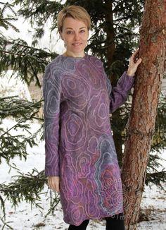 """платье """"Shadow"""" – купить или заказать в интернет-магазине на Ярмарке Мастеров   Валяное платье в технике нуно-фелтинга. Шелк…"""