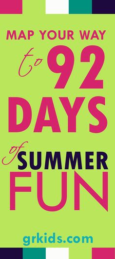 One event for each day of June, July and August equals 92 Days of Summer Fun! Follow the schedule or Mix and Match for the your custom fun menu. This website also lists summer Summer Camps and fairs and festivals, beach guide, where to pick fruit, Vacation Bible Schools and does a Summer Reading Program Roundup. http://grkids.com/map-your-way-to-92-days-of-summer-fun-in-west-michigan/