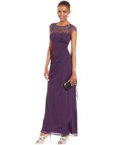 Xscape Cap-Sleeve Illusion Beaded Gown