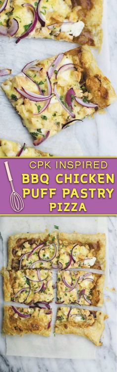 cpk inspired bbq chicken puff pastry pizza - Easy 30 MINS CPK copycat pizza. Use either puff pastry or homemade pizza crust!