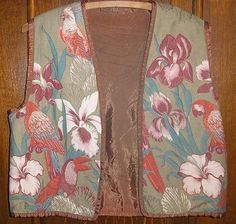 Cockatoo Quilted and Embroidered Olive Vest, 1980's, size small by crafts4thecure ♥etsy♥ $15.00