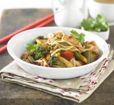 Chicken stir-fry with egg noodles