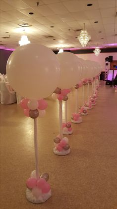 Pink, White and Silver Balloon Columns by Extra POP by Yolanda