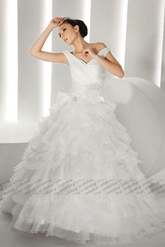 #v-neck wedding #dress, off-shoulder #bridal gown, organza #wedding #gown