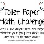 A great partner activity to use in math!  Students must work with a partner in order to answer the following question:What is the largest area and longest perimeter you can make using one roll of toilet paper?  $