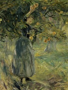 The Orange Picker, 1889 - Berthe Morisot (French, Impressionism French Impressionist Painters, Impressionist Artists, Renoir, Eduardo Manet, Berthe Morisot, Garden Painting, Post Impressionism, French Artists, Figure Painting