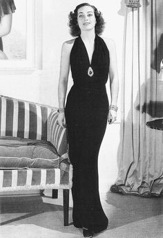 "Click image for 767 x 1119 size. ""Joan Crawford in No More Ladies is dressed in a signature sleek and timeless dress by Adrian. Hollywood Fashion, Vintage Hollywood, Hollywood Costume, Old Hollywood Glamour, Classic Hollywood, Hollywood Actresses, Madeleine Vionnet, Joan Crawford, Mae West"