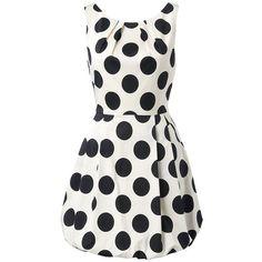 Forever New Sophia Polka Dot Dress ($76) ❤ liked on Polyvore featuring dresses, vestidos, short dresses, robes, full skirt mini dress, short polka dot dress, white polka dot dress, white mini dress and white full skirt dress