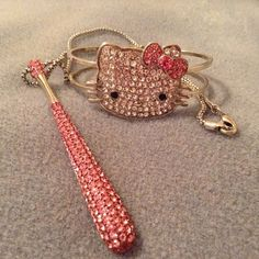 Hello Kitty Hinged Bangle & Necklace Set ! This Is A Really Cute Hello Kitty Hinged Bangle And Crystal Necklace Set, I Purchased From Another Posher And have Never Worn ! Really Cute Fun Jewelry! All I'm Asking Is What I Paid Thanks! Hello Kitty Jewelry Bracelets