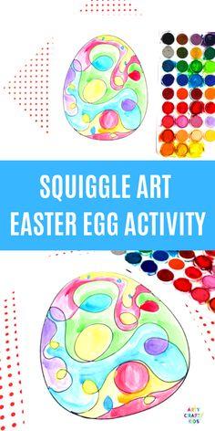 Squiggle Line Art Easter Egg Activity - Arty Crafty Kids Easter Craft Activities, Easy Preschool Crafts, Easter Arts And Crafts, Creative Arts And Crafts, Spring Activities, Creative Kids, Kid Crafts, Easy Crafts, Easy Art For Kids