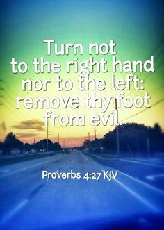 Turn not to the right hand nor to the left: remove thy foot from evil. Proverbs 4:27 KJV