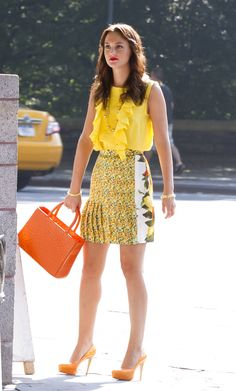 Blair Waldorf style. Amazing. These citrus colours are perfect for summer. http://gerald-pilcher.com